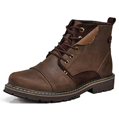 Men Martin Boots Leather Casual ChukkaAnkle Boots Army Desert Booties Snow Boots High Help Work Boots