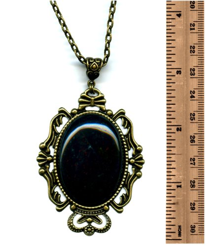 Brass large green with red specks bloodstone gemstone cameo pendant brass large green with red specks bloodstone gemstone cameo pendant necklace 24 inches handmade bs124 aloadofball Choice Image