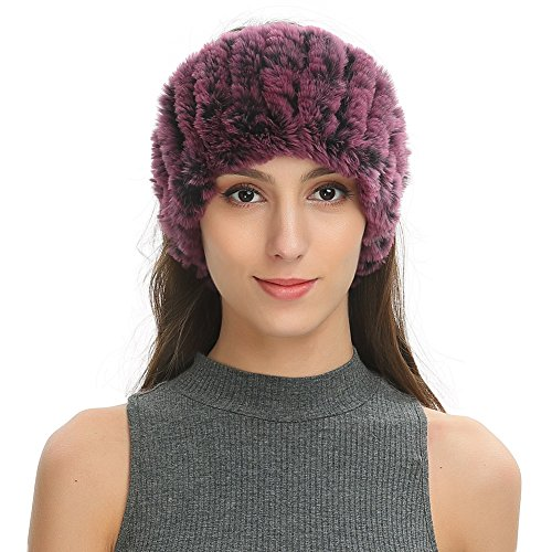 Knitted Neck Scarves - Ferand Women's Soft Warm Twill Headband in Real Rex Rabbit Knitted Fur , Convertible Neck Snood Scarf for Winter, One size, Purple