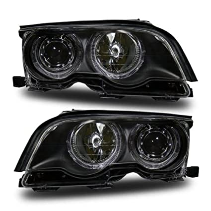 Sppc Black Projector Headlights Assembly Set With Halo Rings For Bmw 3 Series E46 2 Door Pair Includes Driver Left And Passenger Right Side