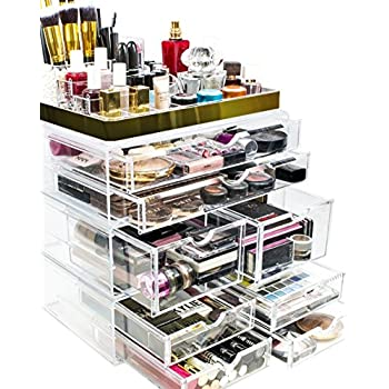 Sorbus Acrylic Cosmetic Makeup And Jewelry Storage Case Display With Gold  Trim   Spacious Design