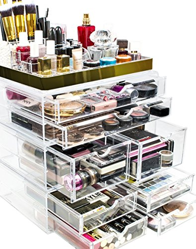 Sorbus Acrylic Cosmetic Makeup and Jewelry Storage Case Display with Gold Trim - Spacious Design - Great for Bathroom, Dresser, Vanity and Countertop (Gold Set 2)