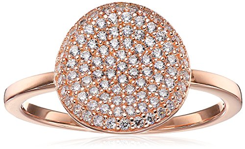 Crislu Simply Pave Circle 18K Rose Gold Plated Sterling Silver Ring, Size (Crislu Pave Ring)