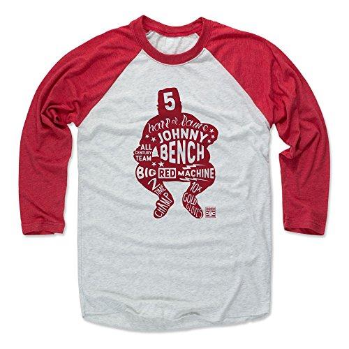 Classic Shirt Cincinnati Reds (500 LEVEL Johnny Bench Baseball Tee Shirt (Large, Red/Ash) - Cincinnati Reds Raglan Tee - Johnny Bench Letters R)