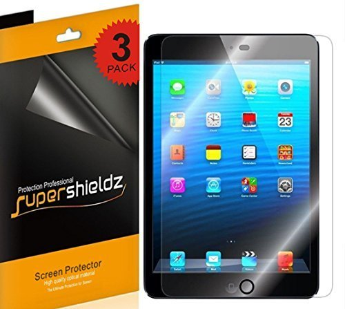 [3-Pack] Supershieldz For Apple iPad Mini 3/iPad Mini 2/iPad Mini Screen Protector, Anti-Bubble High Defintion Clear shield + Lifetime Replacements - Mini Ipad Screen Protector Apple