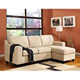 Vogue Microfiber Reversible Chaise Sectional Sofa, Perfect for placement in your living room