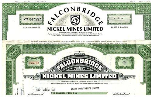 CA 1965 2 DIFFERENT RARE ORIGINAL FALCONBRIDGE (CANADA) MINING STOCKS CV $100 Crisp About - Stores In Ontario Ca