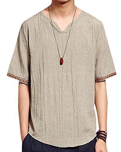 Aishang Men V Neck Ethnic Shirts Linen and Cotton Summer Beach Yoga Top Various from Aishang