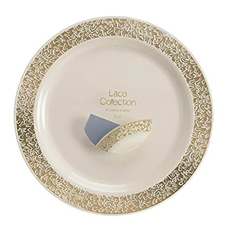 Lace Collection 6 inch Plastic Plates Ivory/Gold/Case of 120  sc 1 st  Amazon.com & Amazon.com: Lace Collection 6 inch Plastic Plates Ivory/Gold/Case of ...