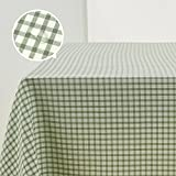 Deconovo Gingham Waterproof Table Cloth Garden Table Covers Rectangle Wipeclean Tablecloth for Garden Tables 137 x 200cm Green
