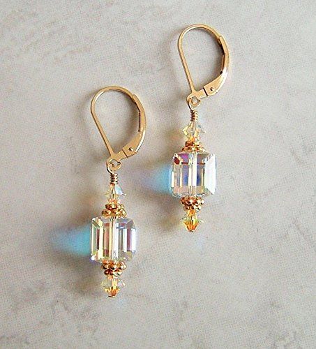 Multi Color Aurora Borealis Swarovski Element Crystal Square Cube Gold Filled Leverback Earrings Gift Idea