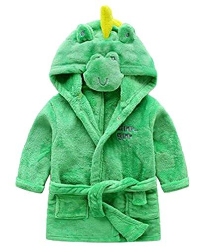 - Toddler Kids Cartoon Hooded Plush Robe Animal Pajamas Fleece Bathrobe Children Sleepwear (6T, Dinosaur)
