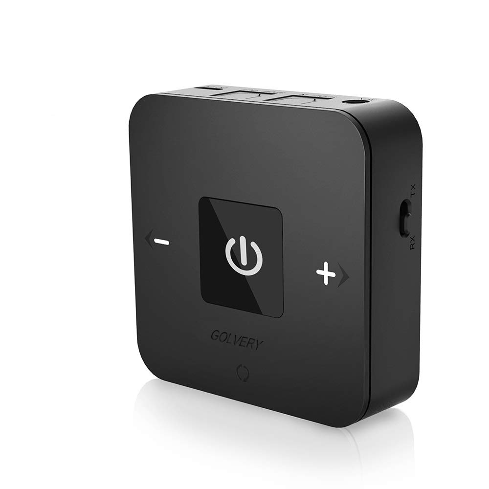 Golvery Bluetooth V5.0 Transmitter and Receiver Wireless Optical TOSLINK and 3.5mm Aux Adapter Supports 25 Hours Playing aptX Low Latency for TV Car Stereo Home Audio with Song//Volume Control