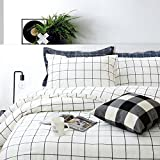 FADFAY Black and White Grid Duvet Cover Sets Lightweight Cotton Bedding Set Lattice Checkered Reversible White Duvet Cover Bedding Collection 3 Pieces,1duvet Cover & 2pillowcases,Twin XL Size