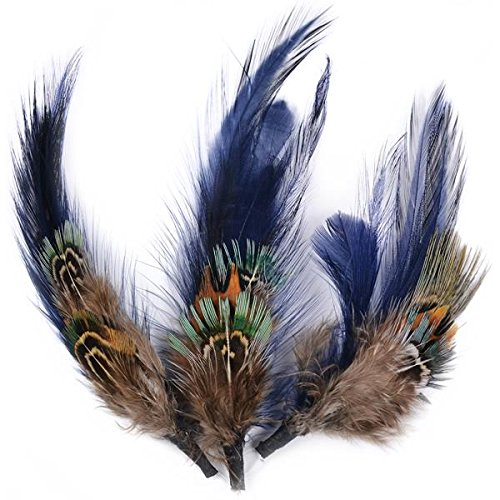 Touch of Nature 3-Piece Natural Feather Pick with Nylon Loop for Arts and Crafts, 4-Inch, Dark Blue/Brown (38110)