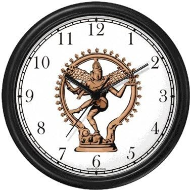 WatchBuddy Hindu God Lord Shiva as Nataraja, Lord of Dance Wall Clock Timepieces Black Frame