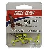 Eagle Claw Jig Ball Double Eye Hook, 10 Piece (Chartreuse, 1/8-Ounce)