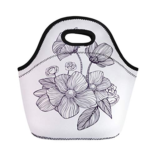 Semtomn Neoprene Lunch Tote Bag Black and White Ornamental Fantastic Flowers Magic Composition Monochrome Reusable Cooler Bags Insulated Thermal Picnic Handbag for Travel,School,Outdoors,Work ()