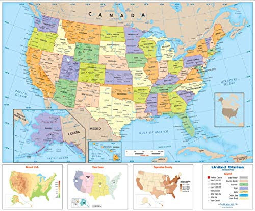 Academia Maps - US Intermediate Political Wall Map - Fully Laminated - Classroom Style - Grades 4-6