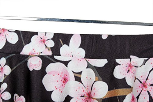 LoveLiness Womens Japan Cherry Blossoms Digital Print Pleated Skirt (One Size, Multicolor)