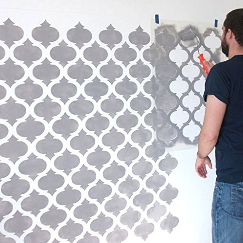 wall painting art craft Ltd Ideal Stencils Moroccan quatrefoil pattern stencil home decorating M//A3//see image for info