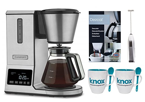 Cuisinart CPO-800 Pure Precision Pour Over Coffee Brewer + Knox Mugs, Descaling Powder and Knox Milk Frother