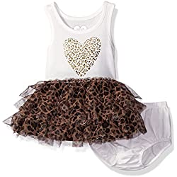The Children's Place Baby Leopard Dress Set, Simply White, 3-6 Months