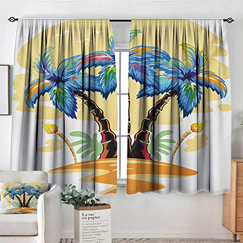 Elliot Dorothy Decor Waterproof Curtains Palm Tree,Colorful Cartoon Tropical Island with Hawaiian Palm Trees Torch Seagulls Sunset,Blue Orange,Blackout Draperies for Bedroom Living Room 42