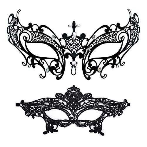 Masquerade Mask for Women Shiny Rhinestone Venetian Party Prom Ball Metal Mask (Fairy) -