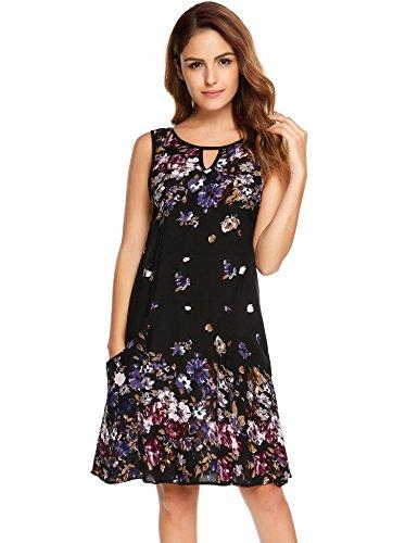 Zeagoo Women's Loose Floral Tank Dress Summer Casual Sleeveless Short Dress (Medium, Black)