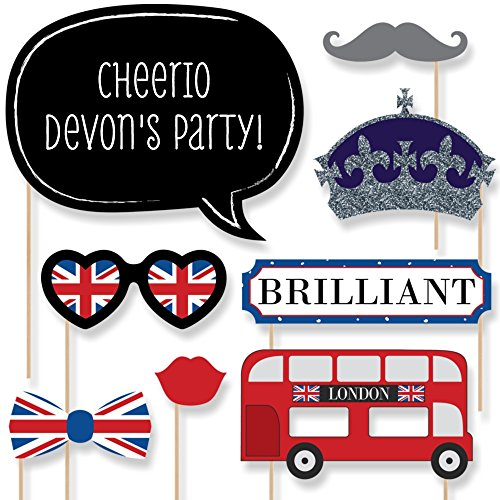 Tea Photo (Custom London Photo Booth Props Kit - Personalized British Party Supplies - English Tea Party Decorations - 20 Selfie Props)