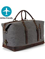 Lifewit Oversized Unisexs Travel Duffle Bags Canvas Genuine Leather Weekender Overnight Carry on Tote