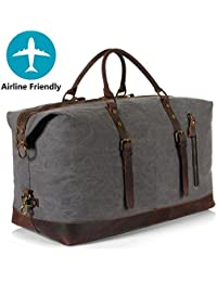 Oversized Canvas Genuine Leather Weekender Travel Duffle Bags Overnight Carry on Tote