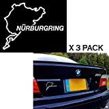 Xotic Tech 3pcs Euro Nurburgring Race Track Touring Map Car Window Die-Cut Graphic Vinyl Decals for SUV Truck Car Bumper, Laptop, Wall, Mirror, Motorcycle