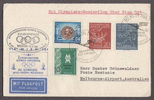 1956 Melbourne Olympics East Germany Air Mail cover 4 stamps Berlin cancel
