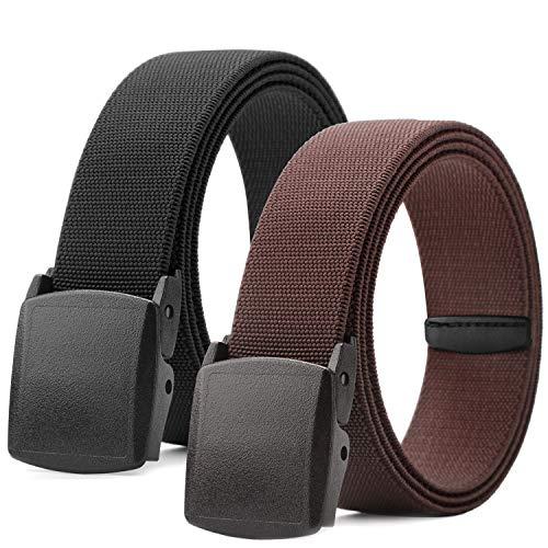 Men Elastic Stretch Web Belt Casual Jeans Waist Belt Adjustable Plastic Buckle Outdoor Belt 44 Inch (2 Black/Brown, Fit Pant 23-35in)