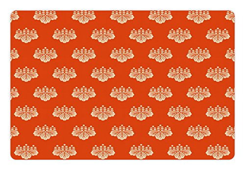 Ambesonne Geometric Pet Mat for Food and Water, Eastern Foliage Pattern with Warm Tones Lotus Leaves Abstract Motifs Japan, Rectangle Non-Slip Rubber Mat for Dogs and Cats, Vermilion Cream