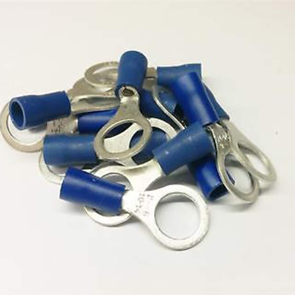 Lorsoul 50PCS 5.3mm Durable Anillo Azul crimpado Aislado Conector el/éctrico Car Audio Cableado