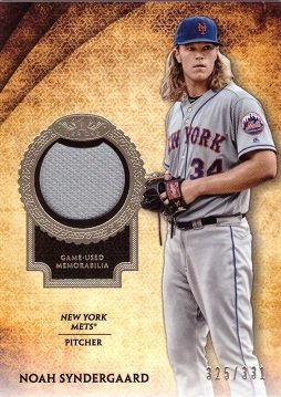2017 Topps Tier One Relics #T1R-NS Noah Syndergaard Game Worn New York Mets Jersey Baseball Card - Only 331 made!