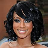 BERON Short Curly Wigs Fashion Wavy Bob Wigs with Side Bangs Short Full Synthetic Wigs for Black Women (Black)