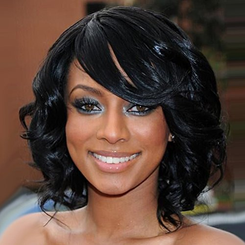 BERON Short Curly Wigs Fashion Wavy Bob Wigs with Side Bangs Short Full Synthetic Wigs for Black Women (Black) by BERON