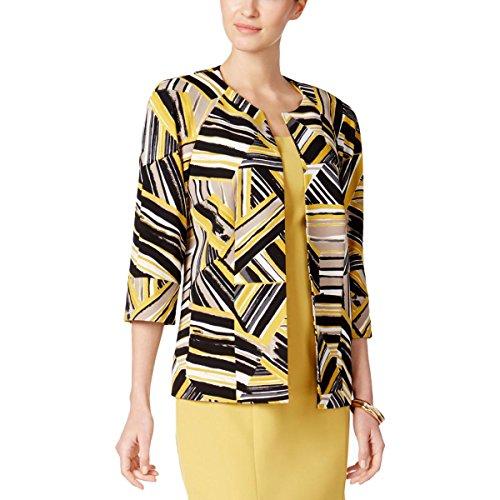 Kasper Women's Abstract Printed Scuba Crepe Jacket, Saffron Multi, 12