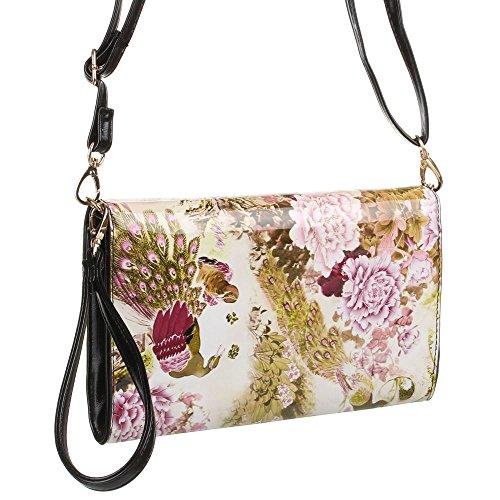 Handtasche Clutch Tragetasche Lila Multi