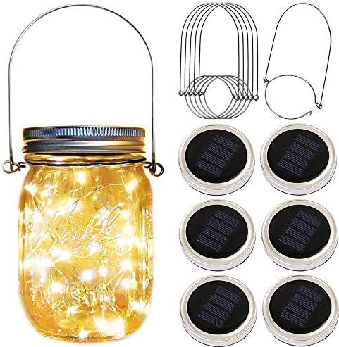 Solar Mason Jar Lid Lights,6 Pack 30 Led Fairy Firefly String Jar Lids Lights,6 Hangers Included No Jars ,Outdoor Solar Lantern for Patio Yard Garden Wedding Party Table Decor