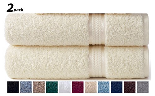 Cotton Craft Ultra Soft 2 Pack Oversized Extra Large Bath Sheet 35x70 Ivory weighs 33 Ounces - 100% Pure Ringspun Cotton - Luxurious Rayon trim - Ideal for everyday use - Easy care machine wash (Extra Cotton Loom Bands compare prices)