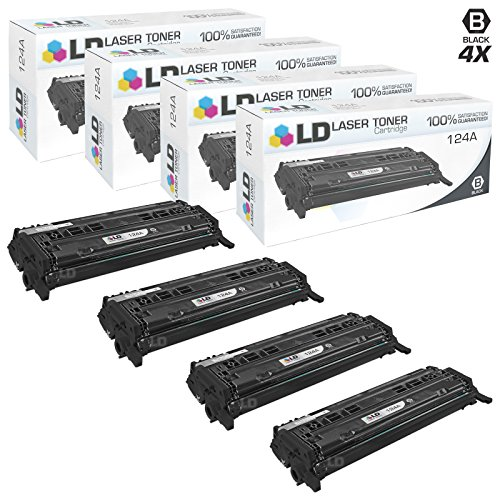 LD Remanufactured Replacements for Hewlett Packard 124A (Q6000A) Pack of 4 Black Toner Cartridges for Color LaserJet 1600, 2600n, 2605dn, 2605dtn, CM1015mfp and CM1017mfp