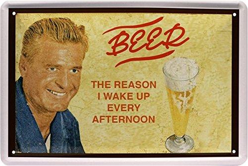 /The Reason I Wake Up Every Afternoon Cartel de chapa 20/x 30/Retro Chapa 634 Beer/