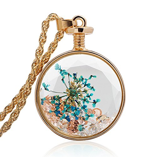 Gold Twist Pendant (Winter's Secret Circle Shape Blue Floral Dried Flower and Crystal Beads Glass Pendant Gold Necklace)