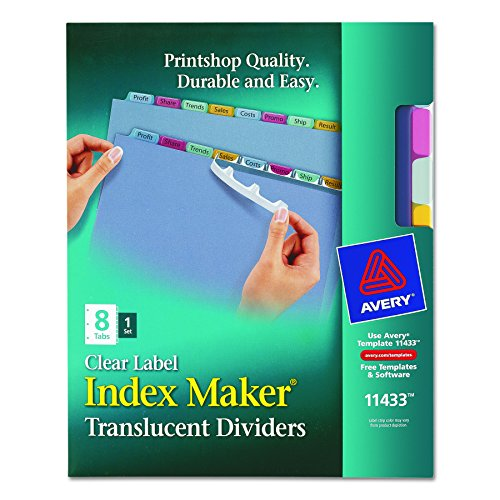 Avery Index Maker Translucent Dividers with Color Labels, 8-Tab, Letter Size (8.5 x 11), Multicolor, 8 per Set (11433) (Translucent Color 5 Tab Divider)