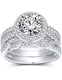 2.0ct Round 18K Gold Plated Sterling Silver Engagement Wedding Ring Sets